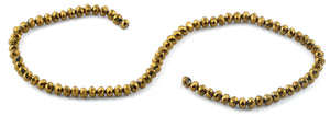 6mm Gold Faceted Rondelle Crystal Beads