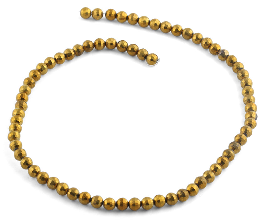 6mm Gold Faceted Round Crystal Beads