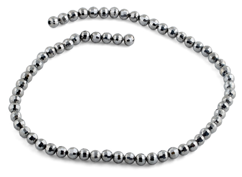 6mm Grey Round Faceted Crystal Beads