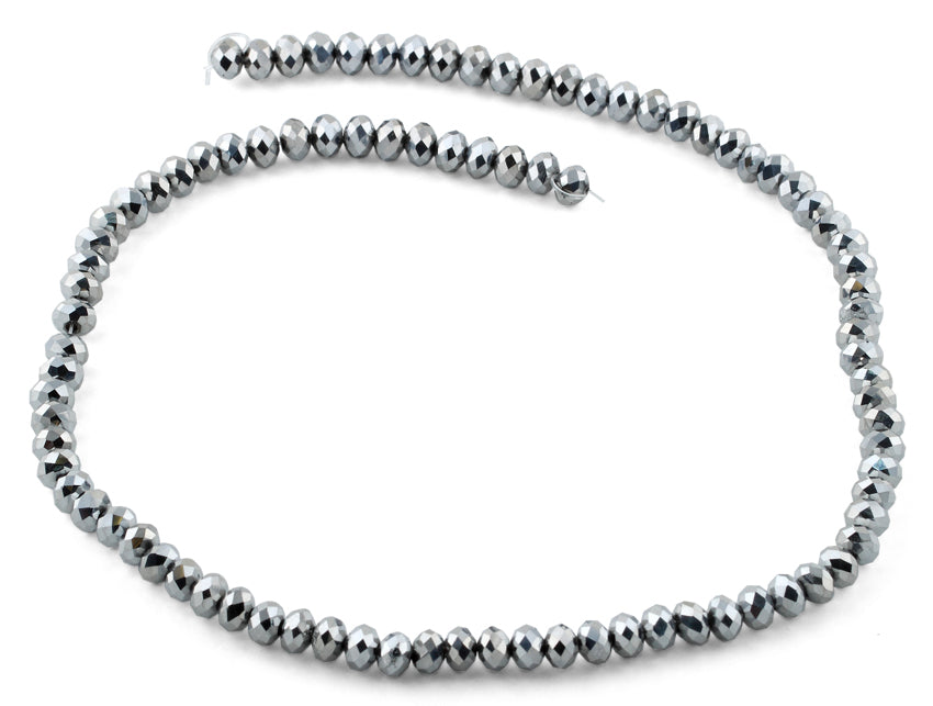 6mm Metal Faceted Rondelle Crystal Beads