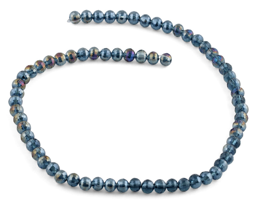 6mm Metallic Blue Round Faceted Crystal Beads
