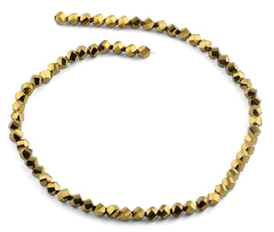 6mm Metallic Gold Twist Faceted Crystal Beads