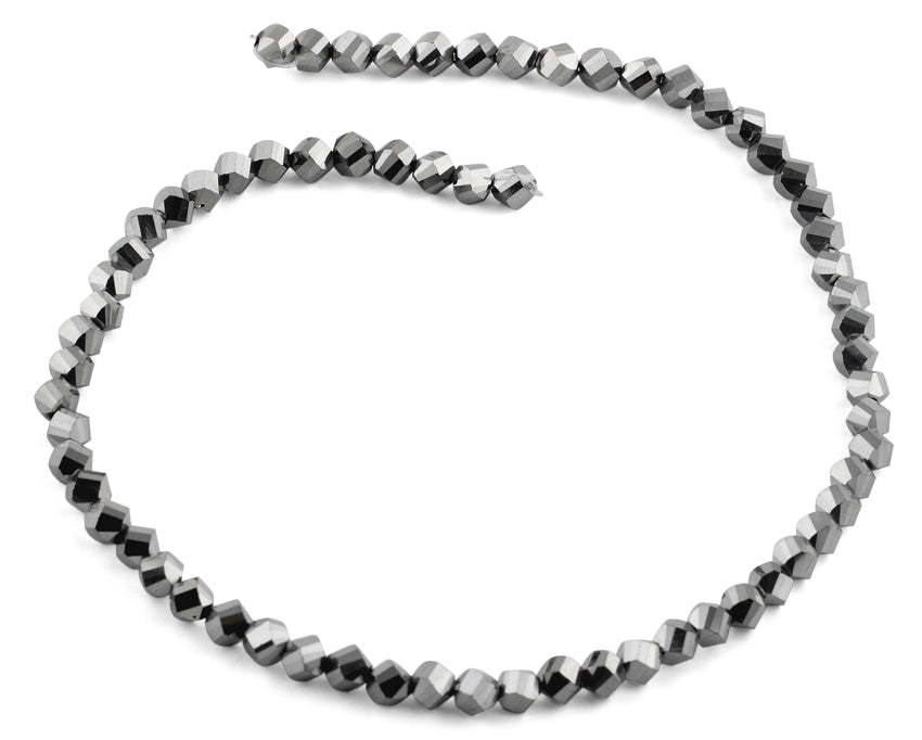 6mm Metallic Grey Twist Faceted Crystal Beads