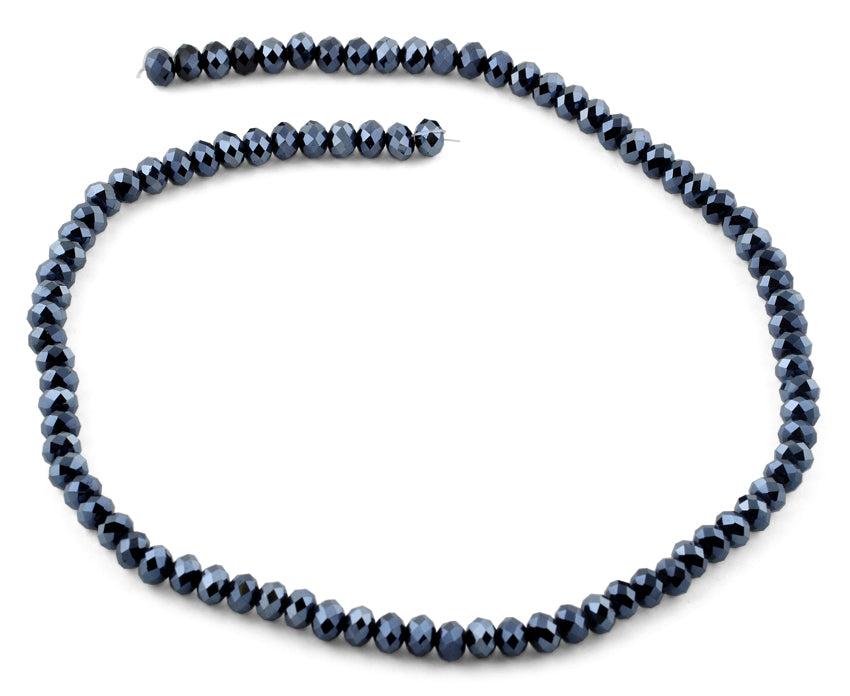 6mm Metallic Navy Blue Faceted Rondelle Crystal Beads