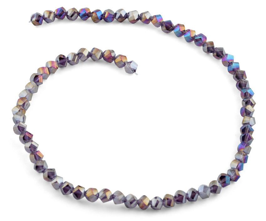 6mm Metallic Purple Twist Faceted Crystal Beads