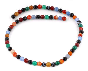 6mm Multi-Color Agate Faceted Gem Stone Beads