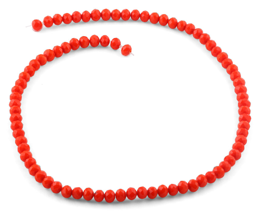 6mm Orange Faceted Rondelle Crystal Beads