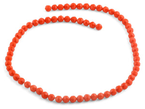 6mm Orange Faceted Round Crystal Beads