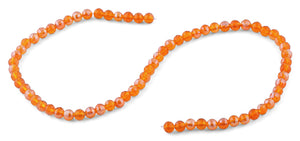 6mm Orange Round Faceted Crystal Beads
