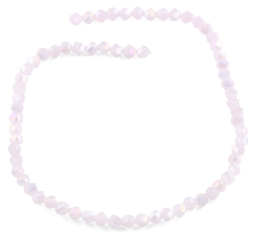 6mm Pink Twist Faceted Crystal Beads