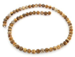 6mm Plain Round Picture Jasper Gem Stone Beads