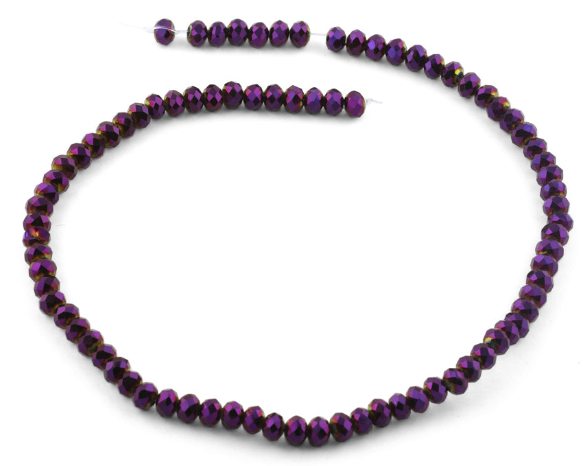 6mm Purple Faceted Rondelle Crystal Beads
