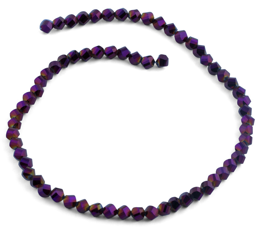 6mm Purple Twist Faceted Crystal Beads