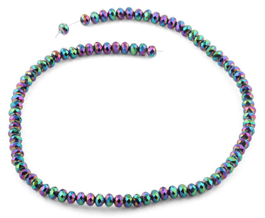 6mm Rainbow Topaz Faceted Rondelle Crystal Beads