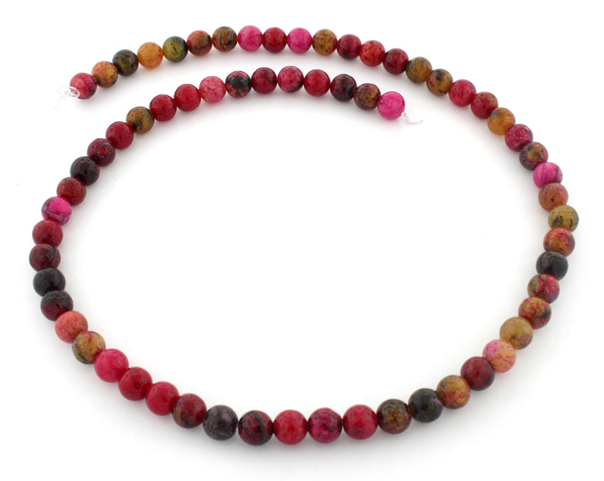 6mm Red Turtle Jasper Gem Stone Beads