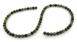 6mm Round Green Snow Flake Gem Stone Beads