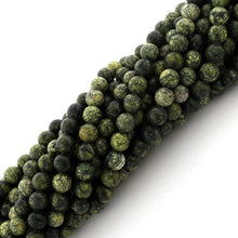 Load image into Gallery viewer, 6mm Round Green Snow Flake Gem Stone Beads