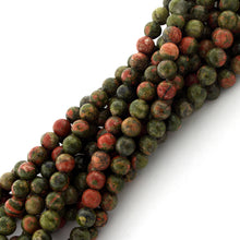 Load image into Gallery viewer, 6mm Round Unakite Gem Stone Beads