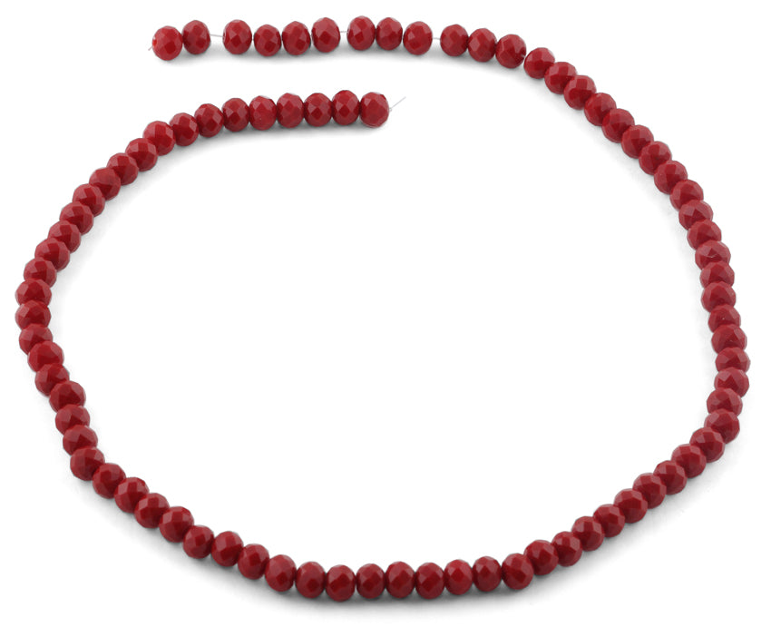 6mm Scarlet Faceted Rondelle Crystal Beads