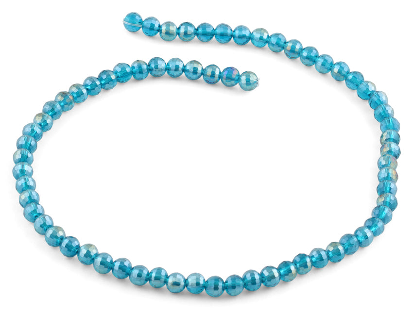 6mm Turquoise Round Faceted Crystal Beads