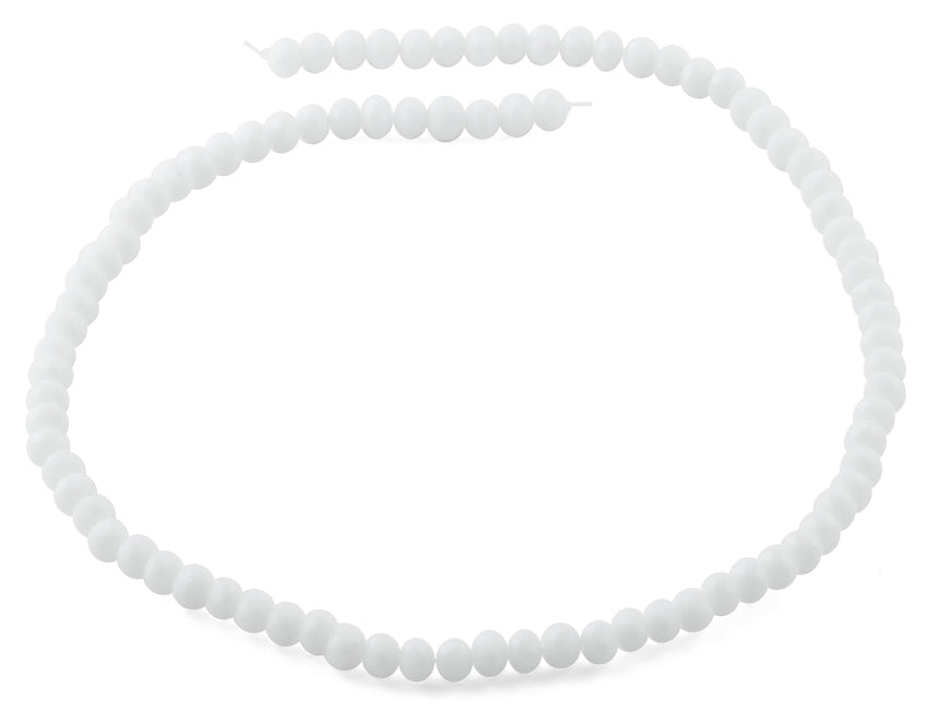 6mm White Frost Faceted Rondelle Crystal Beads