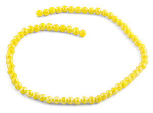6mm Yellow Round Faceted Crystal Beads