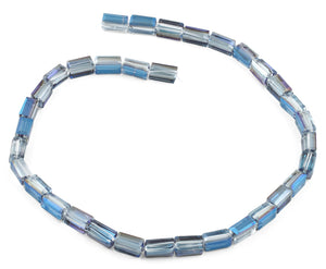 6x12mm Blue Rectangle Faceted Crystal Beads