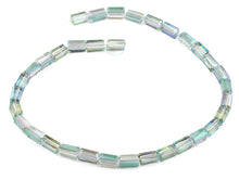 Load image into Gallery viewer, 6x12mm Clear Green Rainbow Topaz Rectangle Faceted Crystal Beads