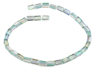 6x12mm Clear Green Rainbow Topaz Rectangle Faceted Crystal Beads
