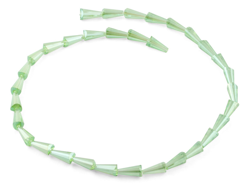 6x12mm Green Cone Faceted Crystal Beads