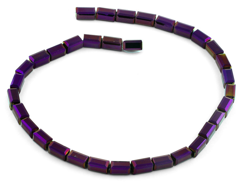 6x12mm Purple Rectangle Faceted Crystal Beads