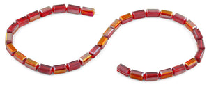 6x12mm Red Rectangle Faceted Crystal Beads