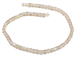 6X6mm Beige Square Faceted Crystal Beads