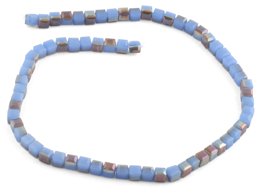 6X6mm Blue Brown Square Faceted Crystal Beads