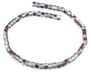 6X6mm Clear Purple Faceted Crystal Beads