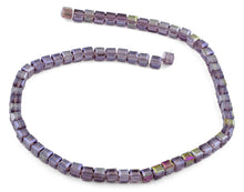 Load image into Gallery viewer, 6X6mm Purple Square Faceted Crystal Beads