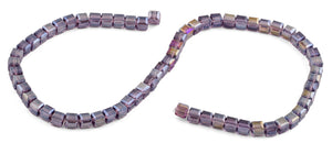 6X6mm Purple Square Faceted Crystal Beads