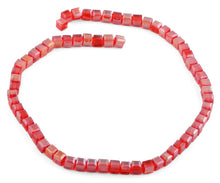 Load image into Gallery viewer, 6X6mm Red Square Faceted Crystal Beads