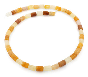 6x8mm Drum Yellow Jade Gem Stone Beads