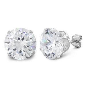 8 ct Sterling Silver CZ Stud Earrings 10MM