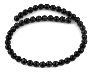 8mm Black Agate Faceted Gem Stone Beads