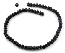 Load image into Gallery viewer, 8mm Black Faceted Rondelle Crystal Beads
