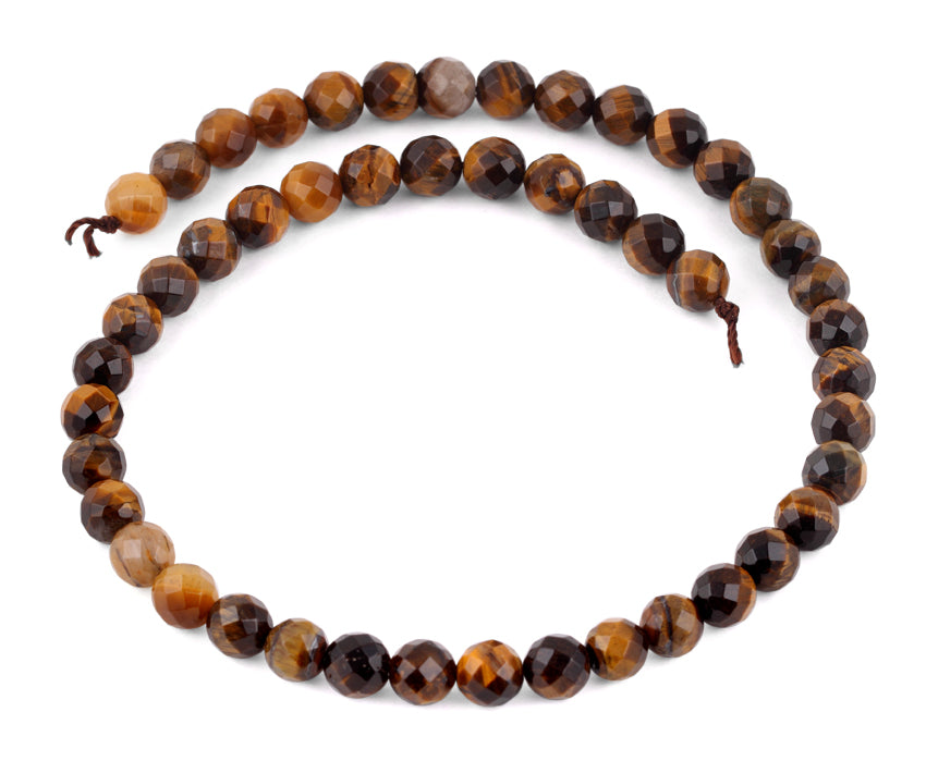 8mm Brown Tiger Eye Faceted Gem Stone Beads
