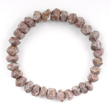Load image into Gallery viewer, 8mm Faceted Nugget Fossilized Agate Gem Stone Bracelet