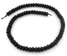 Load image into Gallery viewer, 8mm Faceted Rondelle Black Agate Gem Stone Beads