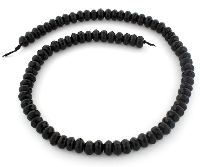 8mm Faceted Rondelle Black Agate Gem Stone Beads