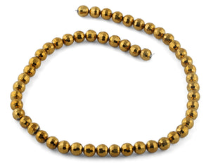 8mm Gold Faceted Round Crystal Beads