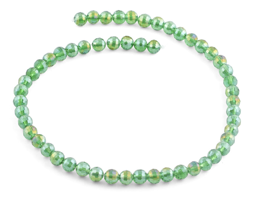 8mm Green Faceted Round Crystal Beads