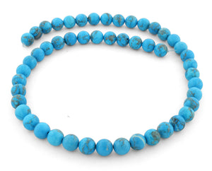 8mm Howlite Turquoise Round Gem Stone Beads