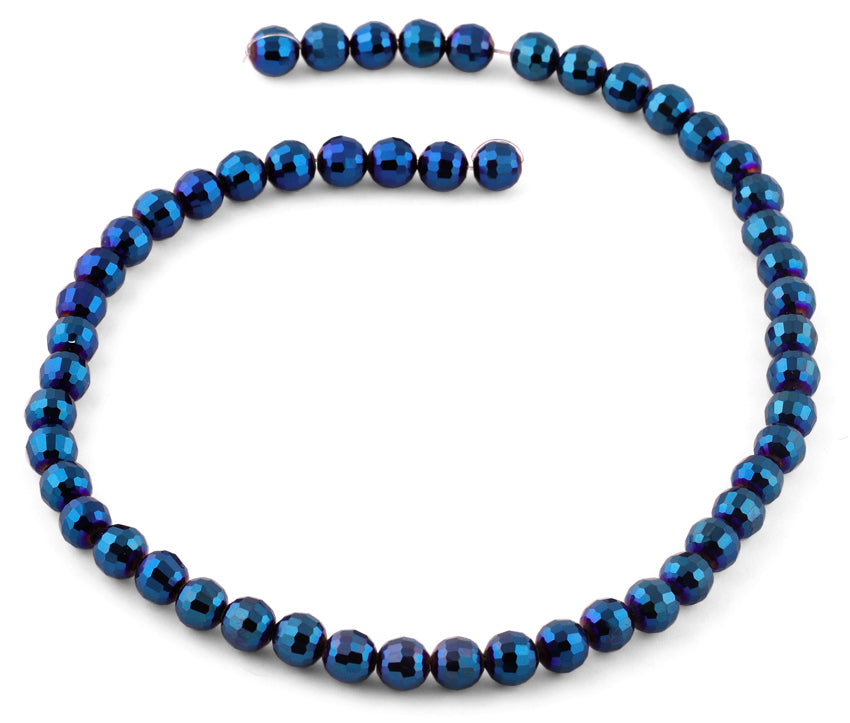 8mm Metal Blue Faceted Round Crystal Beads